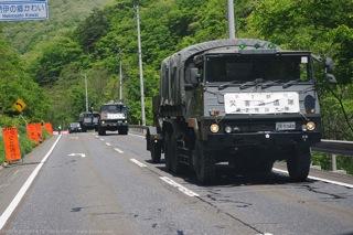自衛隊の災害派遣の車