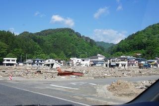 田老港近く住宅地の被害